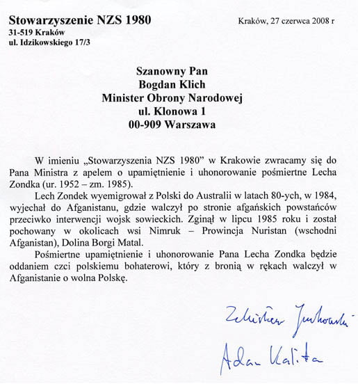 Pismo do Ministra Obrony Narodowej