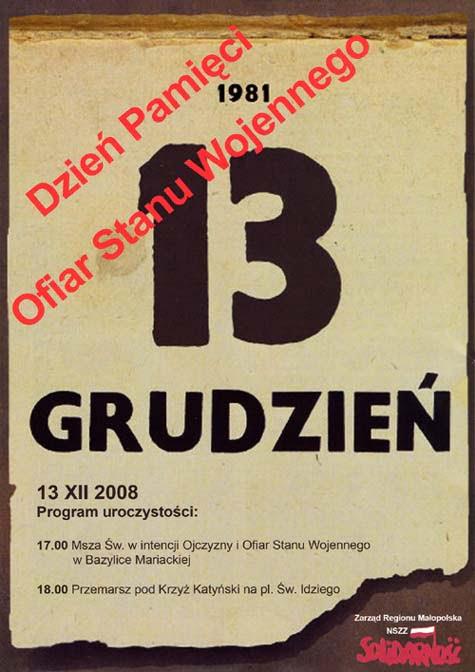 plakat 13 grudnia