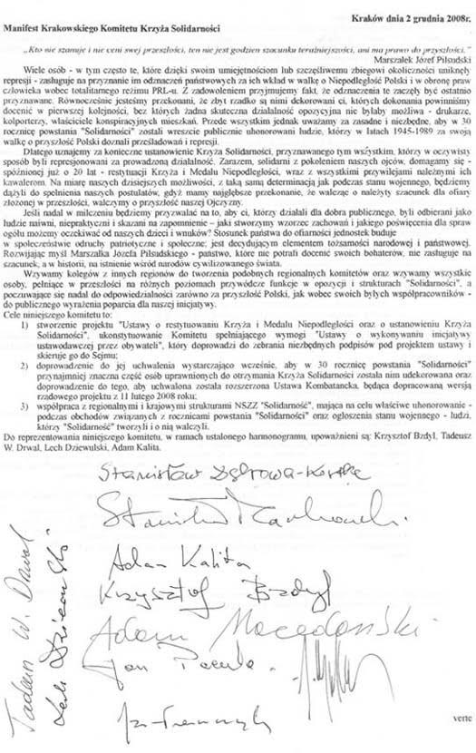 manifest krakowskiego komitetu krzyża solidarności